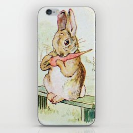 Peter Rabbit eating his carrot by Beatrix Potter iPhone Skin