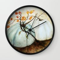 craftberrybush Wall Clocks featuring Pumpkin Patch - Watercolor by craftberrybush