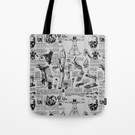 Da Vinci's Anatomy Sketchbook // Silver Tote Bag