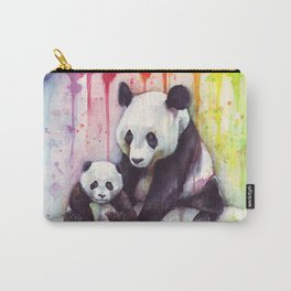 Pandas and Rainbow Watercolor Mom and Baby Panda Nursery Animals Carry-All Pouch