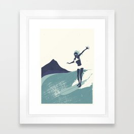 Surfer Girl in Blue Framed Art Print