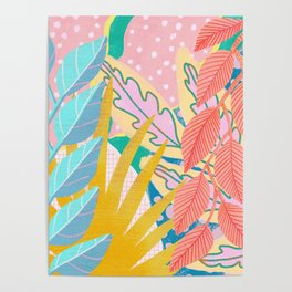 Modern Jungle Plants - Bright Pastels Poster