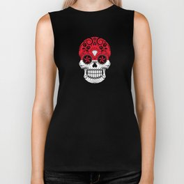 Sugar Skull with Roses and Flag of Indonesia Biker Tank