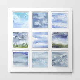 Watercolor collection: Blue sky & clouds Metal Print
