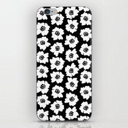 Linocut botanical nature floral flower art nursery black and white decor newborn iPhone Skin