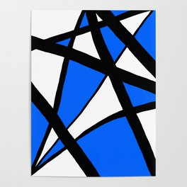 China Blue Geometric Triangle Abstract Inverse Poster