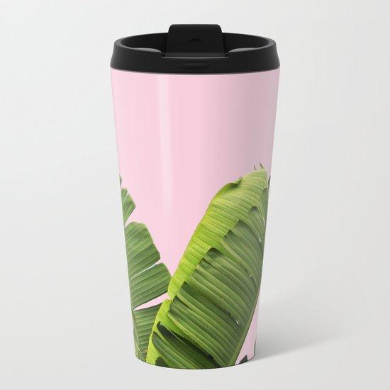 Pink Tropical Banana Leaves Metal Travel Mug