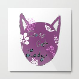 Crazy Cat Lady - Purple Metal Print