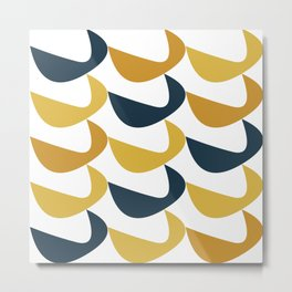 Aldous Midcentury Modern Minimalist Abstract Pattern in Mustard Yellow, Navy Blue, and White Metal Print