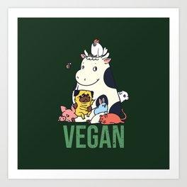 Pug and Friends Vegan Art Print