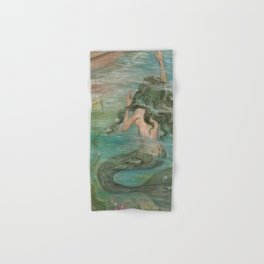 could we be friends? Bffs bestfriends undrewater mermaid reaching for boat on the ocean at sunset Hand & Bath Towel