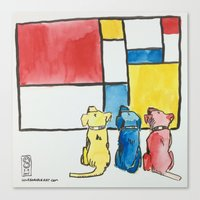 mondrian Canvas Prints featuring Mondrian by Unbearable Art