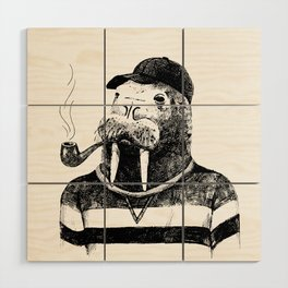 Walrus with a Pipe Wood Wall Art