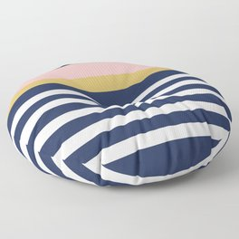 Graduated Stripes in Navy Blue, Blush Pink, Mustard Yellow, and White. Minimalist Color Block Design Floor Pillow