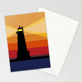 Lighthouse Silhouette At Sunset in Michigan Stationery Cards