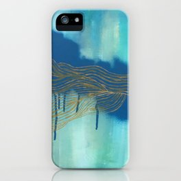 Golden Blue Lines iPhone Case