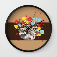 hedgehog Wall Clocks featuring hedgehog by BUBBLY LHASA APSO