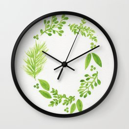 Green Wreath Wall Clock