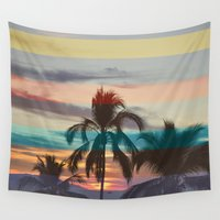 palm tree Wall Tapestries featuring Palm Tree by Benjamin Robles Art