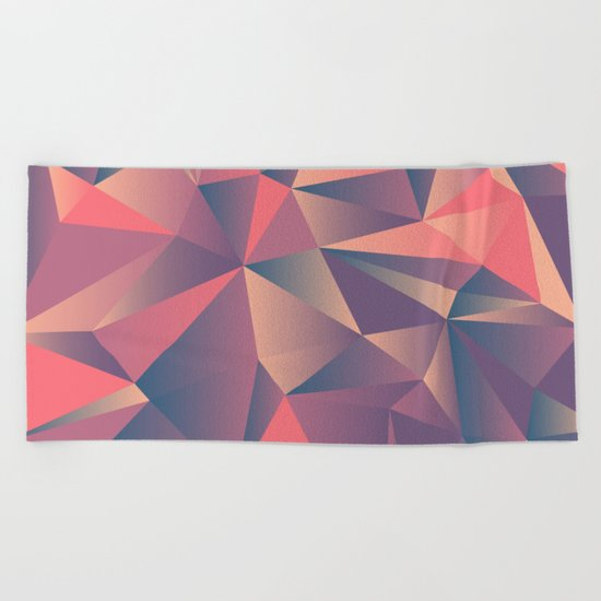 pink purple vintage color geometric Beach Towel