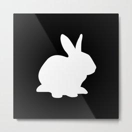 Black And White Rabbit Metal Print