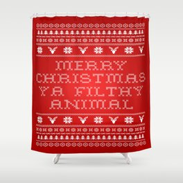Filthy Animal Christmas Sweater Shower Curtain