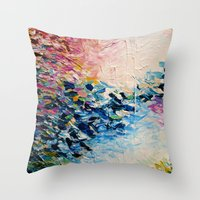 jazzberry Throw Pillows featuring PARADISE DREAMING Colorful Pastel Abstract Art Painting Textural Pink Blue Tropical Brushstrokes by EbiEmporium
