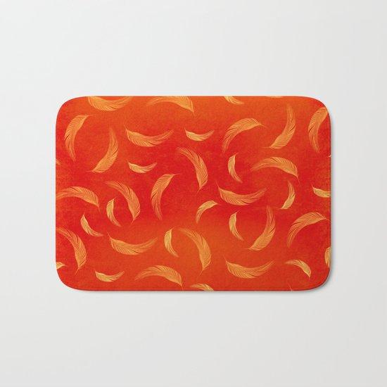 Orange feathers Bath Mat