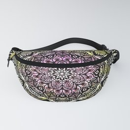 DETAILED CHARCOAL MANDALA (BLACK AND WHITE) WITH COLOR (PINK YELLOW TEAL) Fanny Pack