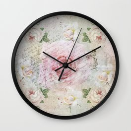 Romantic vintage roses and French handwriting Wall Clock