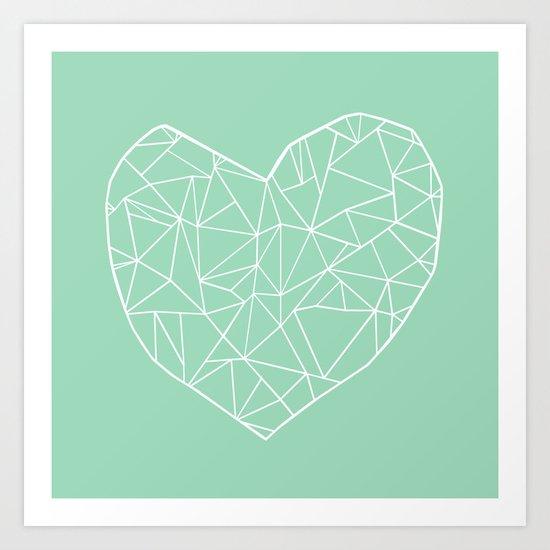 Abstract Heart Mint Art Print