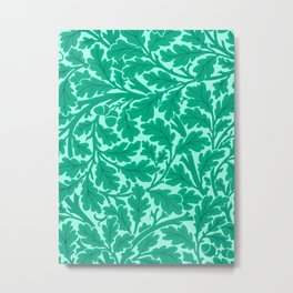 William Morris Oak Leaves, Turquoise & Aqua Metal Print
