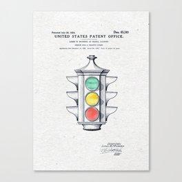 Traffic lights watercolor Canvas Print