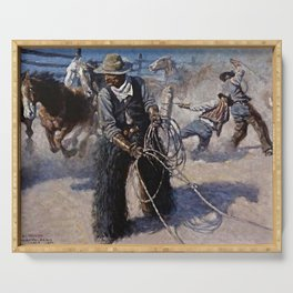 """""""Roping in the Corral"""" by NC Wyeth Serving Tray"""