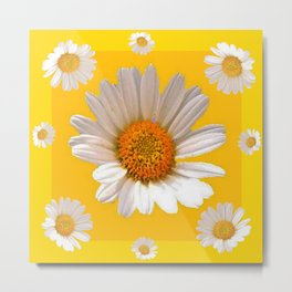 DECORATIVE MUSTARD YELLOW MODERN DAISY ART Metal Print