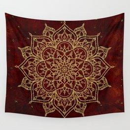 Deep Red & Gold Mandala Wall Tapestry