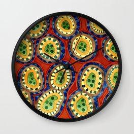 Folcloristic Ringed Circles Pattern Wall Clock