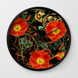 Poppies with abstract Wall Clock
