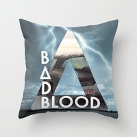 bastille Throw Pillows featuring Bastille - Bad Blood by Thafrayer