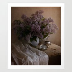 Still life with dishes and fresh lilac Art Print