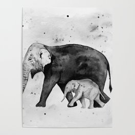 Family of elephants, black and white Poster