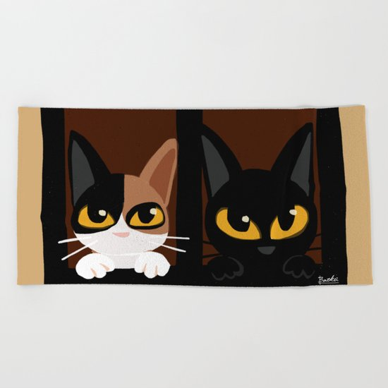 Lovely two cats Beach Towel