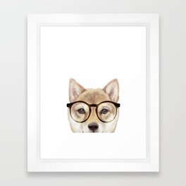 Shiba inu with glasses Dog illustration original painting print Framed Art Print