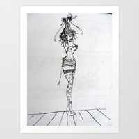 burlesque Art Prints featuring Burlesque by Frances Roughton