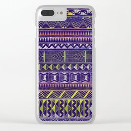 Watercolor and Silver Tribal Pattern on Purple Clear iPhone Case