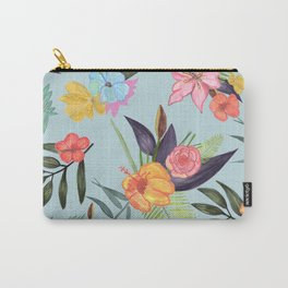 Tropical Brush Watercolor Exotic Flowers Carry-All Pouch