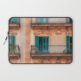 Barcelona Facade Building, Urban Architecture, City Of Barcelona, Spain Travel Print Laptop Sleeve