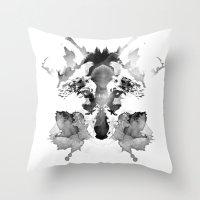 rorschach Throw Pillows featuring Rorschach by Robert Farkas