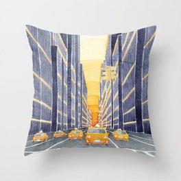 NYC, yellow cabs Throw Pillow