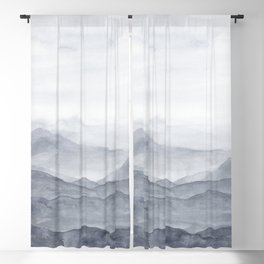 Into the Mountains / Abstract Watercolor Landscape Blackout Curtain